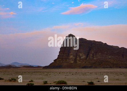 Rocks of the 7 Pillars of Wisdom by Lawrence of Arabia, range in Wadi Rum, Aqaba, Jordan, Middle East - Stock Photo