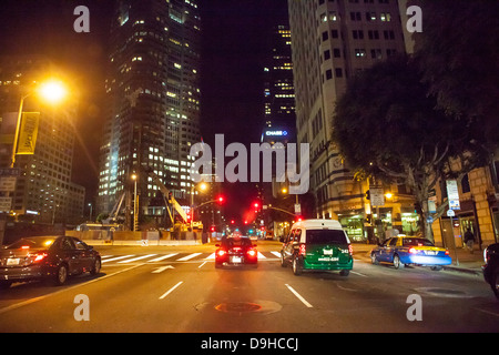 Night time scene on Figueroa Street  in downtown Los Angeles 19 June 2013 - Stock Photo
