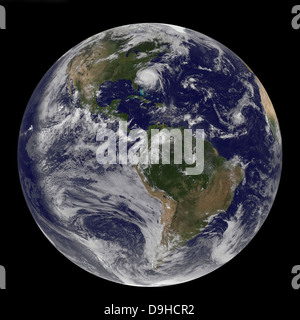 August 26, 2011 - Satellite view of a Full Earth with Hurricane Irene visible on the United States East Coast. - Stock Photo