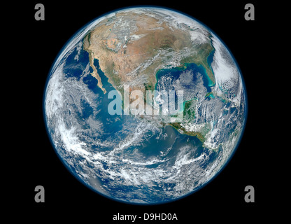 January 4, 2012 - A Blue Marble image of Earth showing North America. - Stock Photo