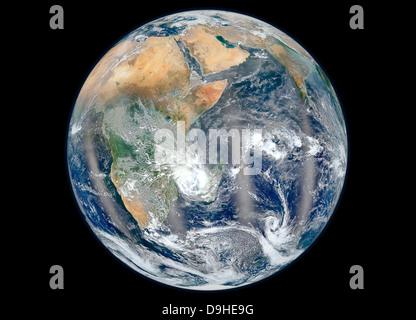 Full Earth showing the eastern hemisphere. - Stock Photo