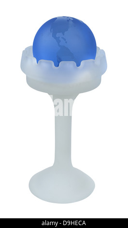 Blue Crystal Globe in a tall Glass Holder - path included - Stock Photo