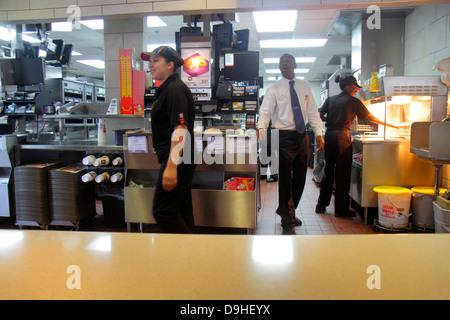 Nevada Las Vegas The Strip South Las Vegas Boulevard McDonald's restaurant fast food employees job Hispanic woman - Stock Photo