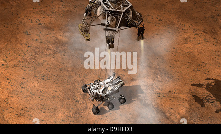 Artist's concept of NASA's Curiosity rover touching down onto the Martian surface. - Stock Photo
