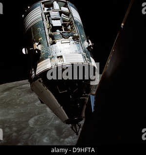 View of the Apollo 17 Command and Service Modules in lunar orbit. - Stock Photo