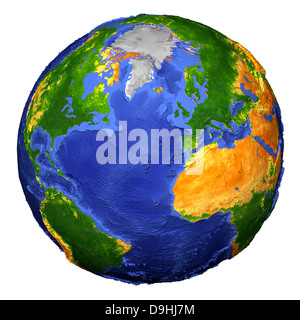 Full view of the Earth derived from AVHRR and topographic data. - Stock Photo