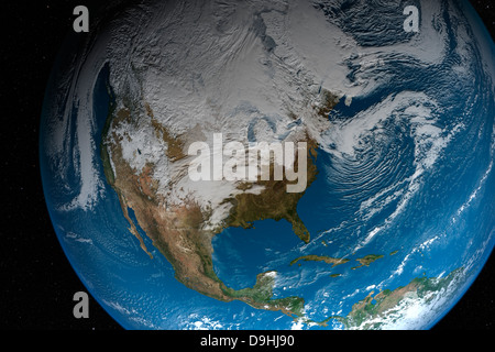 Ful Earth showing simulated clouds over North America. - Stock Photo