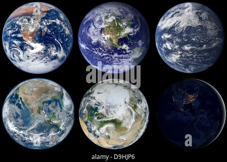 Image comparison of iconic views of planet Earth. - Stock Photo