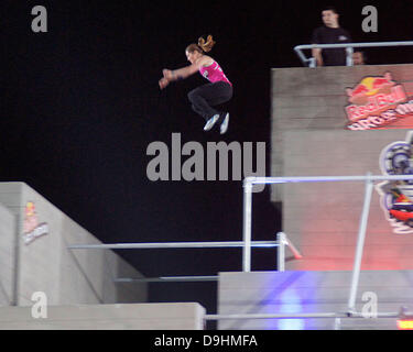 Luci Romberg ,  Free running at the UK Red Bull Art of Motion Champion 2011 at the National Theatre London, England - Stock Photo