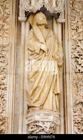TOLEDO - MARCH 8: Saint John the Evangelist statue from atrium of Monasterio San Juan de los Reyes - Stock Photo