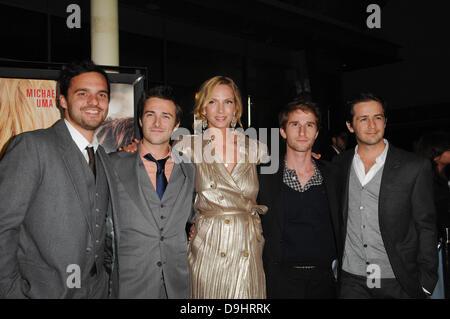 Jake Johnson, reece Thompson, Uma Thurman, Max Winkler, Michael Angarano  Los Angeles Premiere of 'Ceremony' held - Stock Photo