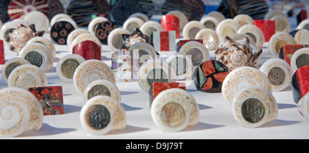 PALERMO - APRIL 8: Tradicional handmade souvenirs from mussels on April 8, 2013 in Palermo, Italy. - Stock Photo