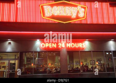 Nevada Las Vegas The Strip South Las Vegas Boulevard Denny's restaurant open 24 hours neon sign night nightlife - Stock Photo