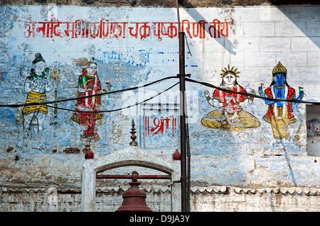 Hinduism Gods painted on a wall. Varanasi, Benares, Uttar Pradesh, India - Stock Photo