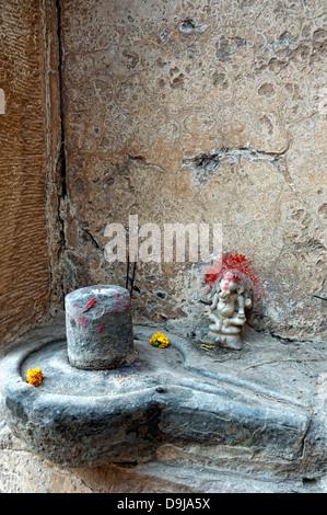 Shiva lingam and Ganesh God. Varanasi, Benares, Uttar Pradesh, India - Stock Photo