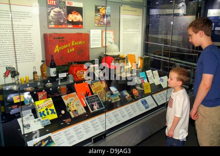 Nevada Las Vegas Flamingo Road National Atomic Testing Museum nuclear weapons development Area 51 relics boy teen - Stock Photo