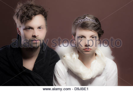 Young couple representing as prince and princess - Stock Photo