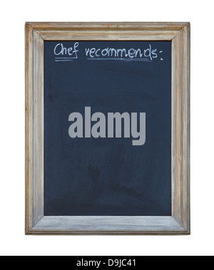 Chef recommends chalkboard with clipping path - Stock Photo