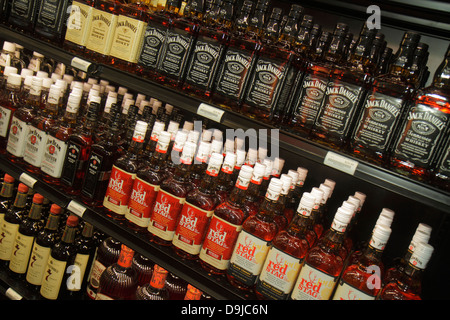 Nevada Las Vegas McCarran International Airport LAS Liquor Library store alcohol bottles retail display sale Jack - Stock Photo