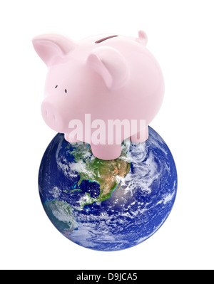 Global Banking. Earth image provided by Nasa. - Stock Photo