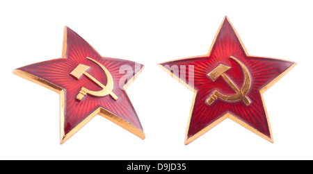 Soviet red star badge with clipping path - Stock Photo