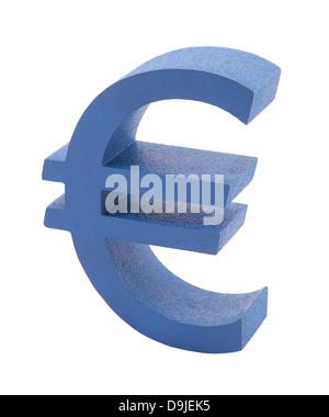 Blue euro symbol isolated on white - Stock Photo