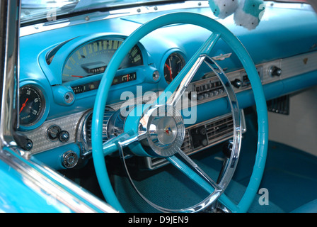 the steering wheel and interior dashboard of a classic car at a car stock photo royalty free. Black Bedroom Furniture Sets. Home Design Ideas