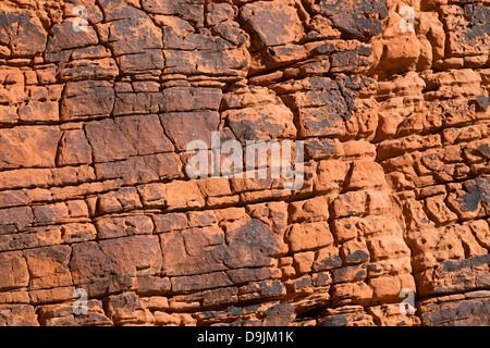 Detailed view of cracks and erosion patterns in a large red sandstone rock, Valley of Fire State Park, Nevada, United - Stock Photo