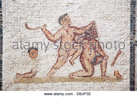 Ancient mosaics in Musee National du Bardo in Tunis, Tunisia - Stock Photo