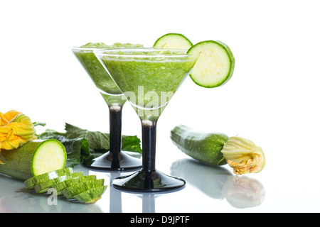 mashed squash in a glass on a white background - Stock Photo