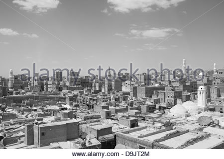 Rooftops of Old Town, Sana'a, a World Heritage Site which has been inhabited for over 2,500 years. Sana'a, Yemen. - Stock Photo