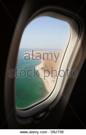 View from airliner on approach to land in Hadibu, Socotra, Yemen - Stock Photo