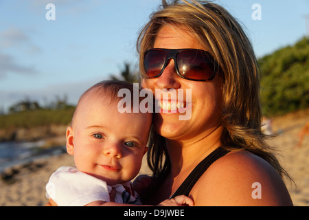 Mother and son at Hookipa Beach on Maui - Stock Photo
