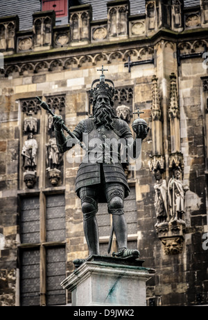 Statue of Charlemagne in front of the Aachen Town Hall - Stock Photo