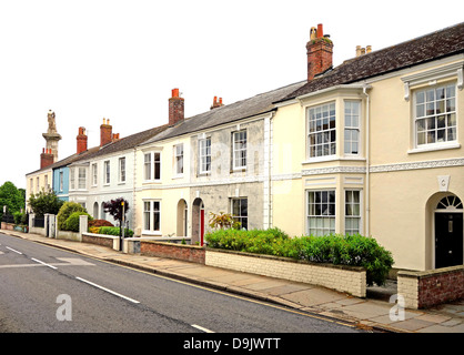 A row of georgian period terraced houses in truro, cornwall, uk - Stock Photo