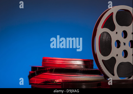 Movie film on spools - film festival concept - space foe text - Stock Photo