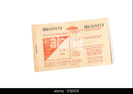 1973 British motor fuel ration book - Stock Photo