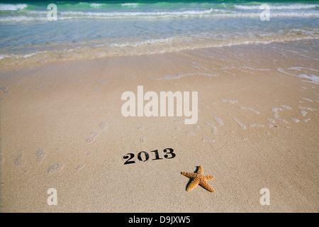 2013 new year metal numbers on beach sea sand, shallow DOF - Stock Photo