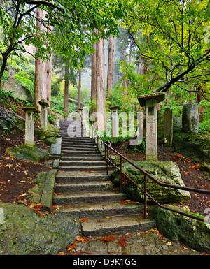 Walking trail to Yamadera Mountain Temple in Yamagata, Japan. - Stock Photo