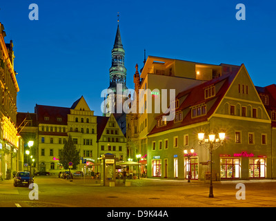 St. Mary's Church and Cathedral with houses at main market in Zwickau, Saxony, Germany - Stock Photo