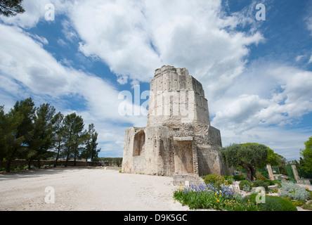 Tour Magne, Roman tower and landmark in the Jardins de la Fontaine, Nîmes, Gard, Languedoc, France - Stock Photo