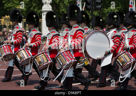 The band of the Welsh Guards marching in London. - Stock Photo