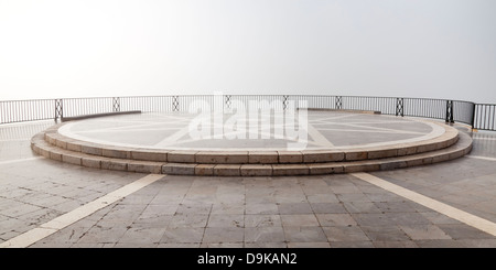 Fog over the Balcón de Europa, Nerja, Costa del Sol, Andalusia, Spain, Europe, - Stock Photo
