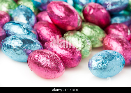 Colorful Chocolate Easter Egg Candy wrapped in foil - Stock Photo
