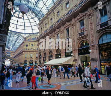 The historic Galleria Vittorio Emanuele II (one of the world's oldest shopping malls) Milan, Italy, Europe. - Stock Photo