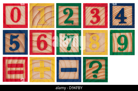 Wooden colorful numbers isolated on white - Stock Photo