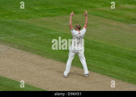 21 June 2013 Emirates Old Trafford, Manchester, UK Glen Chapple, the Lancashire captain, appeals unsuccessfully - Stock Photo