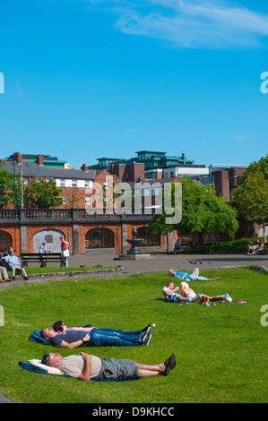 St Patrick cathedral gardens park central Dublin Ireland Europe - Stock Photo