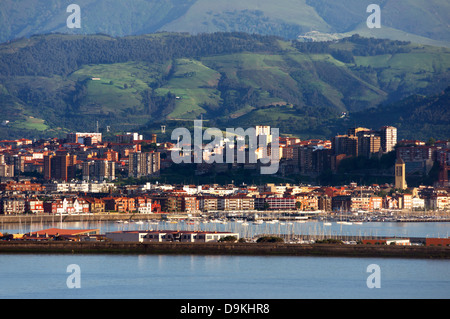 view of Getxo and Portugalete village with promenade. Biscay, Basque Country, Spain - Stock Photo
