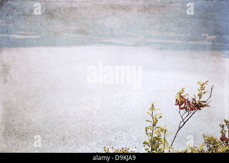 image in grunge style, lake - Stock Photo
